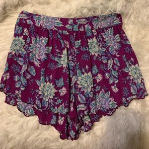 Purple Floral Shorts